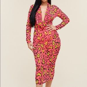 Velvet Dusk Neon Leopard Midi Dress